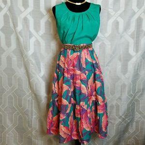 Colorful Tropical Mid length Skirt